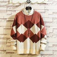 2019 Уюкской осень / зима новый японский Trend мужской свитер Patchwork Ромб Повседневный Темперамент Пуловер Одежда Hombre