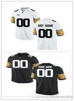 Benutzerdefinierte Iowa Hawkeyes College Football Jersey weiß schwarz genähte jeder beliebige Name Beliebige Anzahl Trikots XS-5XL Personalisierte