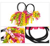 Chica A-korker Titulares de cola de caballo korkers Cintas rizadas serpentinas corcho pelo bobbles arcos flor elástica escuela refuerzos headwear DHL FJ390