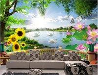 3D 인테리어 정의 벽화 아름다운 자연 경관 백조의 호수 현대 3D 스테레오 발코니 배경 벽 스티커 홈 장식 벽 예술 사진