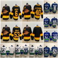 New Vancouver Canucks Hockey Jerseys 40 Elias Pettersson 33 Henrik Sedin 22 Daniel Sedin 53 Bo Horvat Início azul Terceiro Branco Jerseys costurado