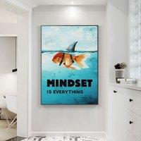 Motivazione in stile nordico Poster Stampa su tela sulla parete Mindset è tutto Immagini di arte della parete di pesce squalo per la decorazione domestica