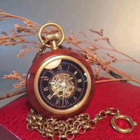 Fashion creative vintage watch chain rosewood 4.8 mechanical quartz pocket watch for men and women