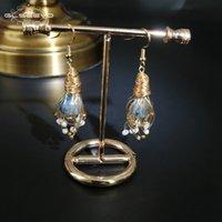GLSEEVO naturale della perla dell'acqua dolce Kyanite goccia orecchini fatti a mano per le donne annata ciondola gli orecchini nozze gioielli di lusso GE0588 CJ191202