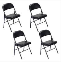 Горячие продажи !!! Оптовикам Свободная перевозка груза 4шт Элегантные стулья Складные Утюг ПВХ для конференц-Выставочном Black