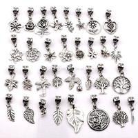 160 adet Antik Gümüş Karışık Çiçekler, Ağaçlar, Yapraklar Dangle Charms Kolye Takı Yapımı Için Bilezik Kolye DIY Aksesuarları