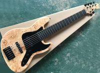 Cor de madeira natural 6 cordas Baixo de jazz elétrico com pickguard preto, Rosewood Fretboard, pode ser personalizado como pedido
