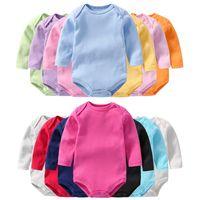 لون الصلبة الوليد رومبير الخريف 2020 للجنسين الطفل عضوي الملابس التسوق عبر الإنترنت 13 اللون طفل رومبير كم طويل 18041802