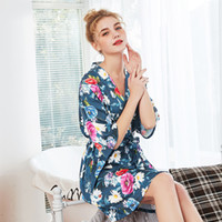 Womens Summer Sleep Dresses Silk Ladies Pajamas Flower Print...