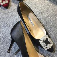 Frete grátis 2019 seda satins pillage apontou sapatos de diamante 8.5 cm de salto alto strass branco dimond bombas casamento VESTIDO SAPATOS 34-41