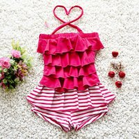 New Fashion Girls Swimsuit Bambini Red Ruffle con Tulle a righe Costume intero Holiday Beach Girls Swimwear BY0966