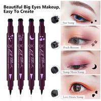 Double-tête Traceur liquide noir Crayon facile à porter Maquillage Star Heart Moon Flower Stamp Waterproof Mark Seal Tattoo Eye Liner A1201