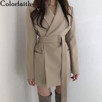 Colorfaith New 2019 осень зима женские пиджаки ютки длинные куртки зарезанные верхняя одежда Англия стиль твердых кардиган топы JK97151