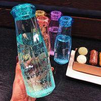 Garrafa de água de plástico moda caneca de viagem esporte garrafas de água acampar caminhada chaleira bebida copo presente de diamante