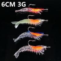 10pcs 4 del color de 6 cm 3 g de camarones gancho de pesca Ganchos suaves Anzuelos Cebos Señuelos Equipos de pesca C-002