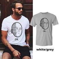 2018 vendita calda di estate uomini casual giapponese comodo e creativo faccia cartone animato OK stampa modello T-shirt da uomo WGTX26