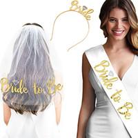 3pcs Gold Bride To Be Sash Velo Tiara Crown Set per Romantic Wedding Bridal Shower Addio al nubilato Decorazioni per feste Idee