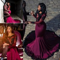 2019 Burgundy Mermaid Prom Dresses Plus Size Sheer Long Slee...