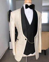 Groom Tuxedos Groomsmen Shawl Lapel Pattern New Arrival Men ...