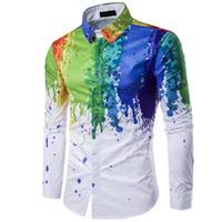 CALOFE 2018 Men Splash Ink Panit Color Shirt Long Sleeve Leisure Urban Fashion Men Blouse Camiseta Masculina Large Size 3XL