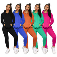 Katı Renk Uzun Kollu Spor Kapşonlu Tulum Kış Çizim Fit Düz Bacak 2 Adet Set Womens