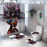 Africano mulheres americanas Bath Mat cortina de chuveiro Bath Rug Define Banho Tapete WC Mat Set antiderrapantes Início Lavabo Pavimento