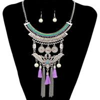 2 färger Böhmen kvinnor fest uttalande halsband pärla örhängen sätta kedjor chokers guld fjäril mynt tofs smycken tillbehör