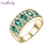 Bagues de femmes en or jaune 18 carats 1.5ct naturel Emeraude Rubis Saphir Diamants véritable fête d'anniversaire Bands bijoux bague cadeau CJ191205