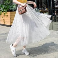 Star sequined mesh skirt 2019 summer new female long section...