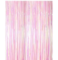 Bunte transparente Regen-silk Vorhanggroßhandelsquasten-Parteihintergrund Hochzeitsraumdekoration Folien-Vorhänge 1M breit und 3M lang WQ63