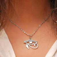 Arbeiten Sie Schmucksachen Weinlese-Silber ägyptischen Auge sehen Alle sehen Auge-Auge von Horus Halskette Schmuck guter Freund, Claviclekette Geschenk 502