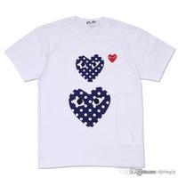 En iyi Kalite Sıcak TATİL Kalp Emoji OYUN Japon Beyaz Siyah Polka Dots Kalp Beyaz T-shirt Siyah Beden L istemi karar