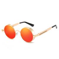 Gafas de sol steampunk de gama alta más vendidas para mujer, montura de metal para hombre, gafas de sol redondas, gafas de sol de marca, gafas de sol retro UV400