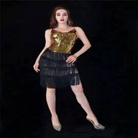 T50 섹시한 여성 장식 조각 무대 극 댄스 의상 술 엉덩이 스커트 가수 골드 복장 격찬 쇼 evenging 파티 DJ 옷을 입고 옷을 입고 거울