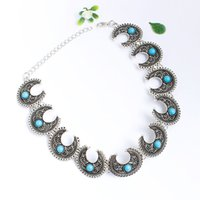 Retro Egypt Pharaoh Alloy Rhinestone Crescent Moon Collar Ne...