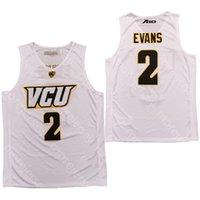 2020 VCU 농구 뉴저지 NCAA 대학 2 마커스 에반스 화이트 모든 스티치와 자수