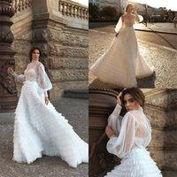 Урожай Boho a-line Свадебные платья Аппликации Шифон с длинным рукавом с длинным рукавом с длинным рукавом с длинным рукавом свадебные платья Мяурированный тюль