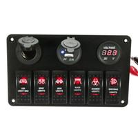 Freeshipping Siyah 6 Gang Tekne Deniz Lazer Kırmızı LED Rocker Anahtarı Paneli Devre Kesici USB Şarj Soketi Önceden kablolu