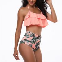 Maillot de bain femme taille haute ensemble de bikini Floral Ruffles 2PCS maillot de bain maillot de bain assorti Beachwear