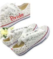 البلد نمط أحذية الزفاف النساء اليدوية بلورات اللؤلؤ حذاء الزفاف الأحذية المسطحة قماش plimsoll العروسة حذاء رياضة حجم 34-44