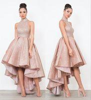 Abiti da ballo arabo arabo con paillettes oro rosa 2020 alti collo più taglie forme a buon mercato africani ragazze africane africane acetario salotto da sera abiti da festa
