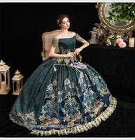 vero lusso palla abito blu vintage rococo principessa / regina delle fate cosplay 100% principessa reale vestito medioevale rinascimentale Victoria palla Belle