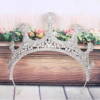 Nuevos cristales de calidad superior de la boda Rhinestone nupcial perla con cuentas accesorios para el cabello diadema banda corona Tiara Headpiece joyería LR213