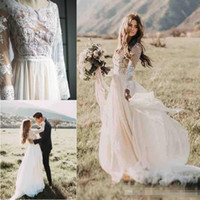 Cheap 2019 Simple Bohemian Beach Wedding Dresses Country Lon...