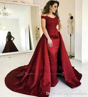 2019 Dark Red Mermaid Prom Evening Dresses Mermaid Attached Train Long Formal Party Gown Plus Size Celebrity Dresses Custom BC1503