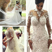 2020 Long Sleeves Brautkleider Illusion Nigeria hohe Ansatz Appliqued wulstige Dubai Arabisch Schloss Mermaid Brautkleid