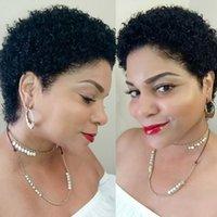 100 gerçek doğal siyah kinky afro kıvırcık insan saçı peruk tutkalsız dantel ön bakire saç peruk siyah kadınlar için bebek saç ile ucuz satılık