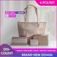 Women Luxurys Designers handbag Bags larger glitter purse 4 pcs set Patchwork shining shoulder totes messenger crossbody shopping bag pu