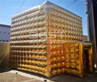 Gaint personalizar ouro / sliver outdoor explodir a água cubo de água eventos de festa inflável acampando preço de fábrica para decoração ao ar livre