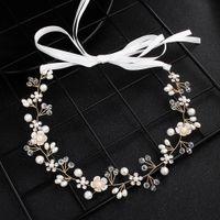 Pubres para bodas de novia nupcial de dama de honor de oro hecho a mano perlas de diamantes de imitación para la diadema de la diadema de lujo Accesorios para el cabello fascinatorios Tiara Gold